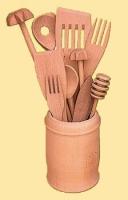 Komplet kuchenny w kubku drewnianym i metalowym